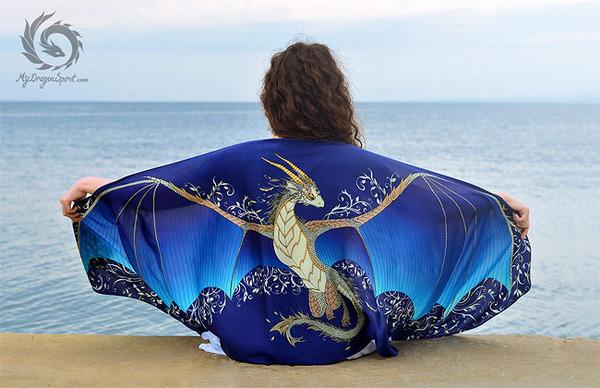 ドラゴン!竜を描いたシルクのスカーフ (9)