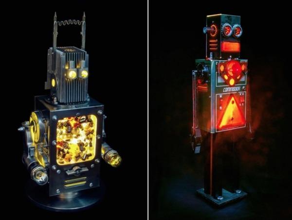 イルミネーションが光るレトロなロボット彫刻 1