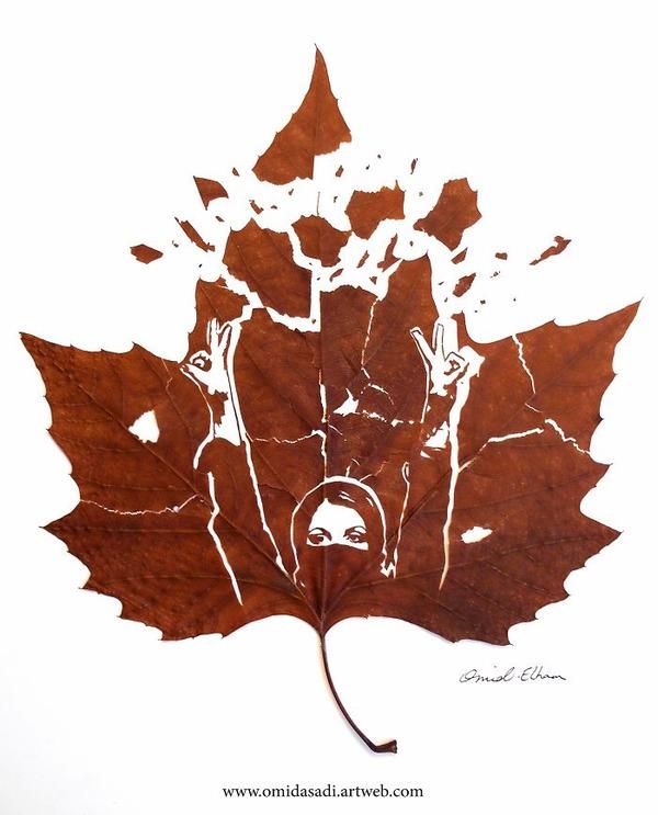 脆くて繊細な落ち葉にモチーフを彫る!カッティングアート (6)
