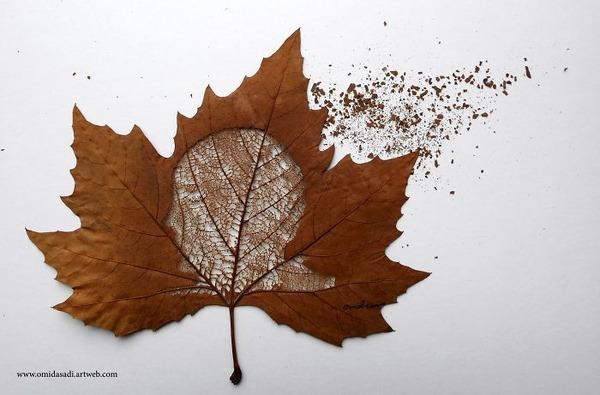 脆くて繊細な落ち葉にモチーフを彫る!カッティングアート (4)