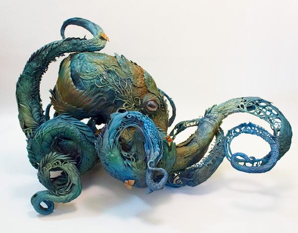 タコの彫刻アート