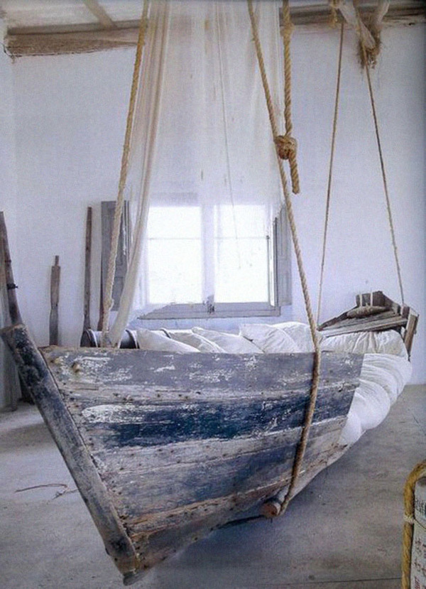 #9 Old Boat Turned Into Hanging Bed