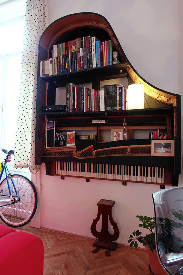 #2 Old Piano Turned Into Bookshelf
