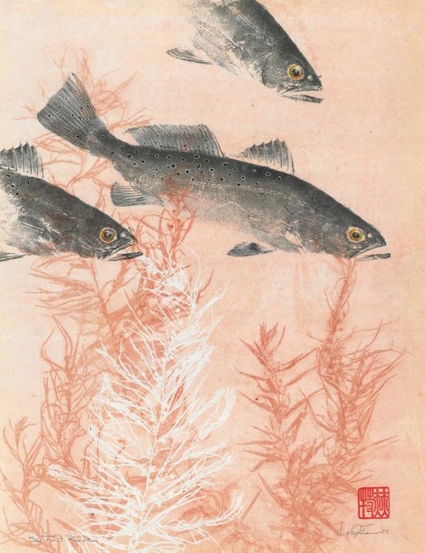 日本文化『魚拓』で描かれる海外アーティストによる絵画作品 (1)