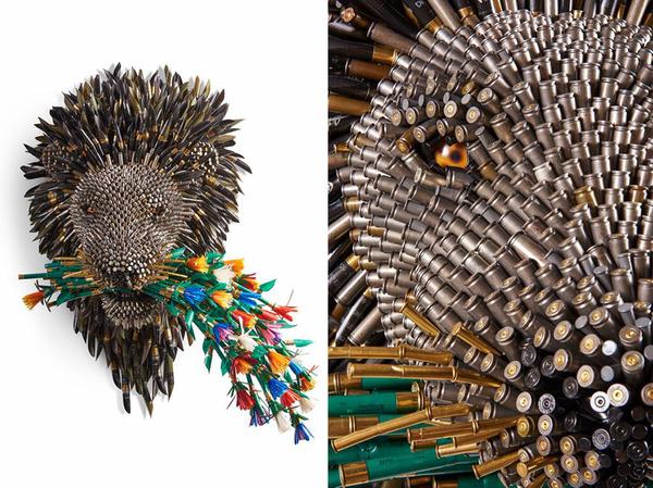 ギンギラギン!空の薬莢からなる野生動物の彫刻 (10)