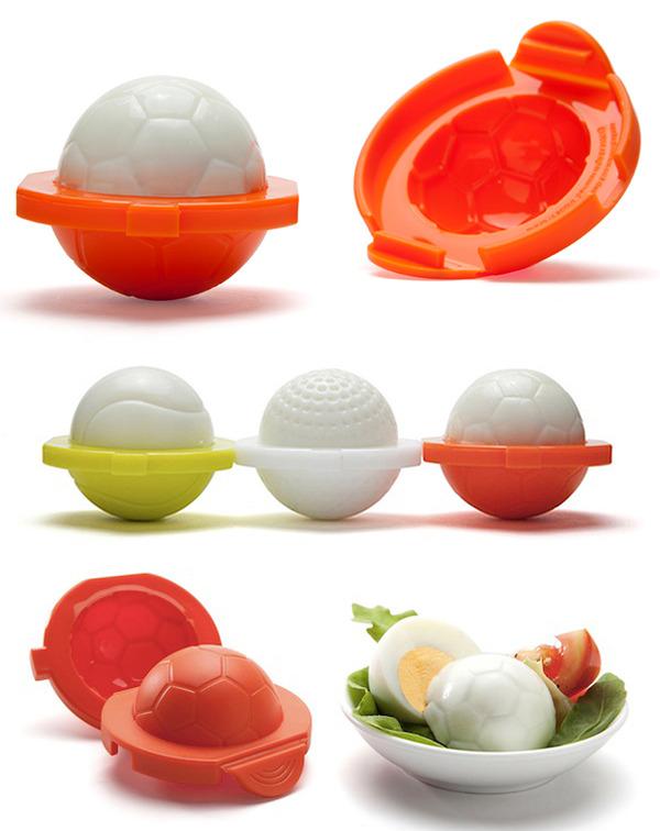 ゆで卵をスポーツ用品の形に