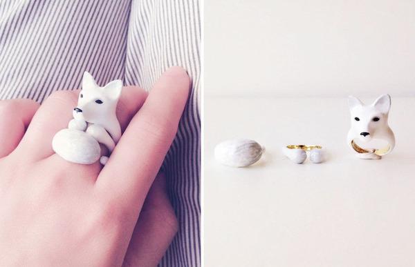 三つで一つの動物指輪。かわいいアニマルリング! (1)