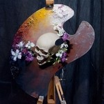 パレットをキャンバスにして描かれた絵画作品18枚