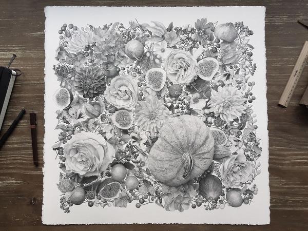 700万の点で描く!370時間をかけて制作された絵画『Autumn』 (1)