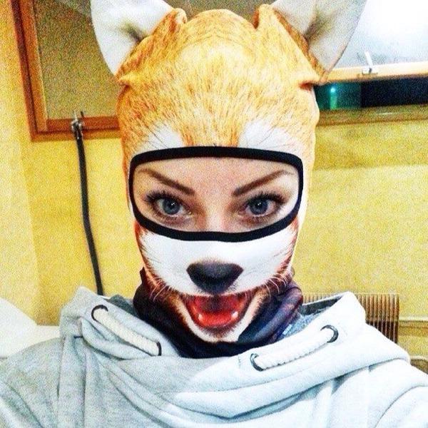 動物気分でスキー!動物の顔がプリントされたフェイスマスク (6)