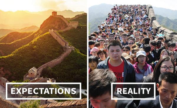 現実は過酷…!観光旅行で期待する景色と現実との比較画像