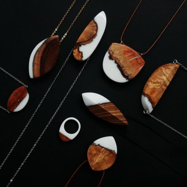 木材と樹脂を組み合わせた神秘的なジュエリーアクセサリー (10)