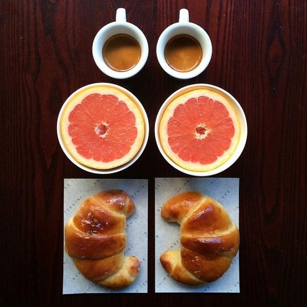 美味しさ2倍!毎日シンメトリーな朝食写真シリーズ (9)