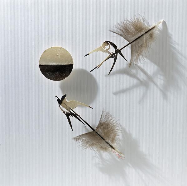 鳥の羽から切り取られた鳥類や動物のモチーフ (1)