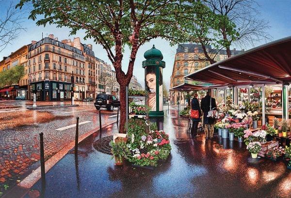 フォト・リアリスティックな都市の景観の油絵 (1)