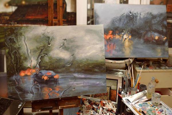 雨に濡れた車のフロントガラスから覗く世界を油絵で表現 (9)