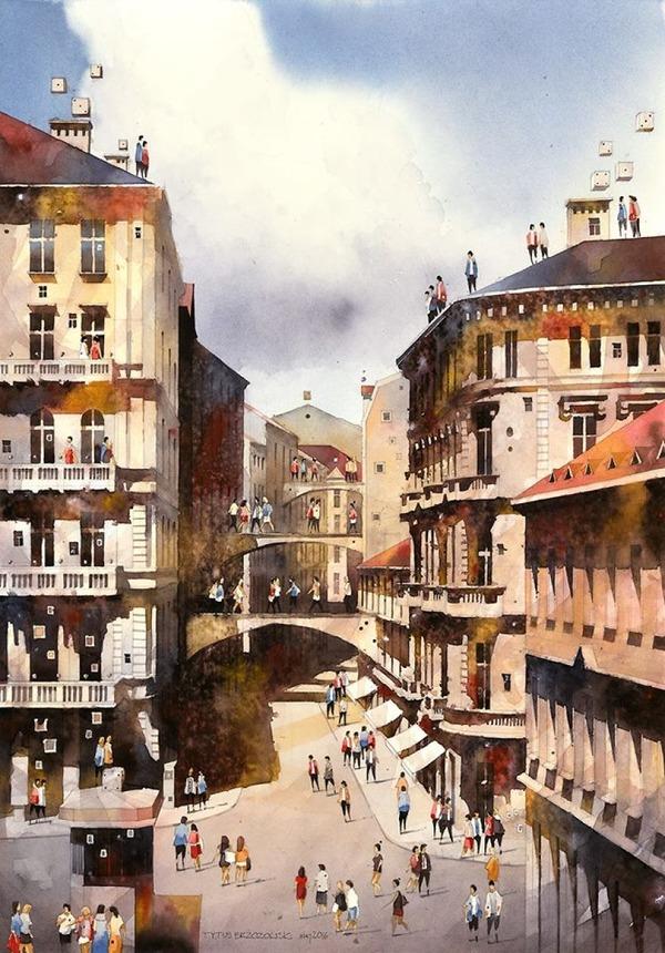 19世紀のポーランドの街並みに触発された都市の水彩画 (13)