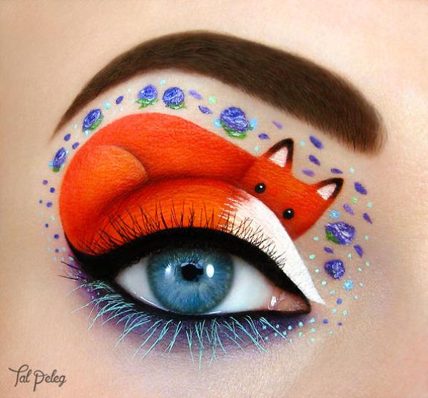 瞳の周りに動物やキャラクターを描く!芸術的なメイク (1)