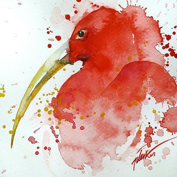 飛散する色彩と水滴!カラフルで可愛い小動物の水彩画 (8)