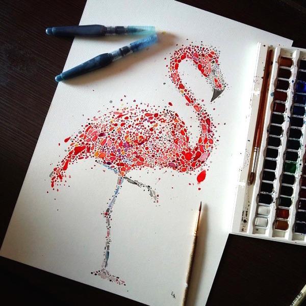 超カラフルな動物の水彩画!色とりどりの点によって描かれる (18)