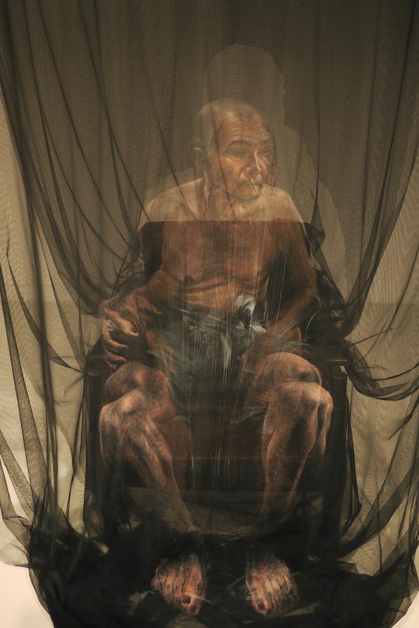 幽霊のように浮かぶ!薄手の生地に描かれた肖像画 (6)