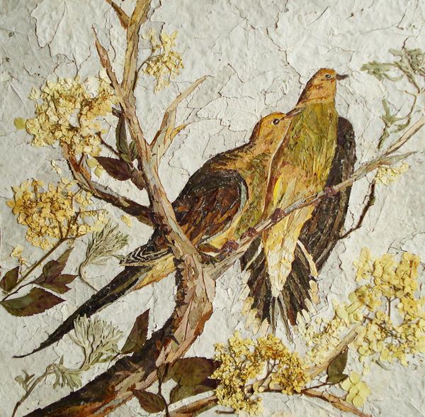 葉や花で自然を描く!植物を素材にした押し花の絵 (2)