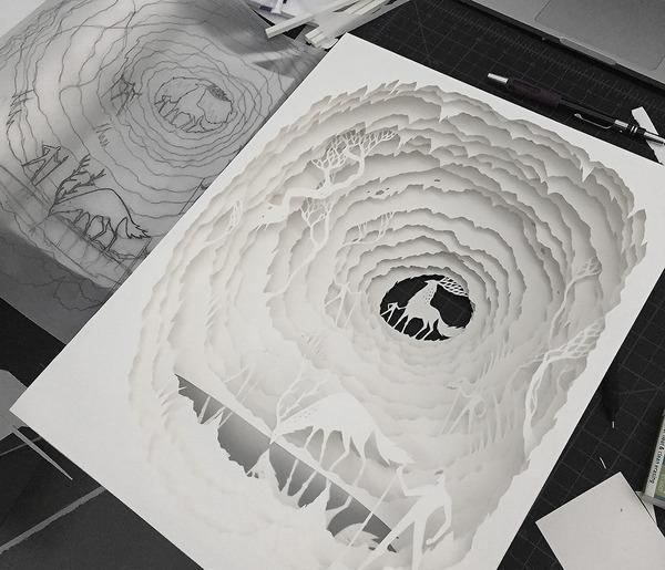 紙のジオラマ!幻想的な架空世界を描くペーパーアート (3)