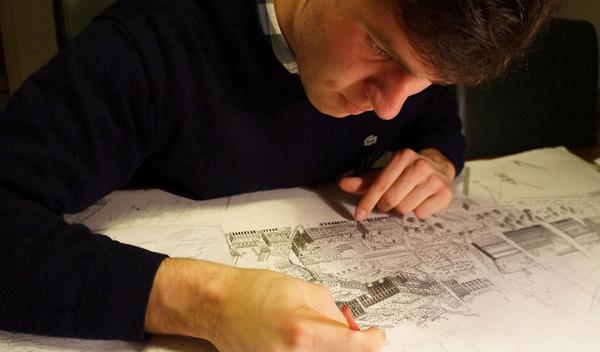 超精密!記憶を頼りに世界の都市景観を描くモノクロ絵画 (1)