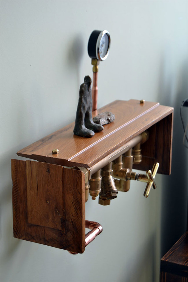 スチームパンクっていいよね。真鍮、銅、金属部品で作る家具 (19)