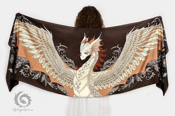 ドラゴン!竜を描いたシルクのスカーフ (11)