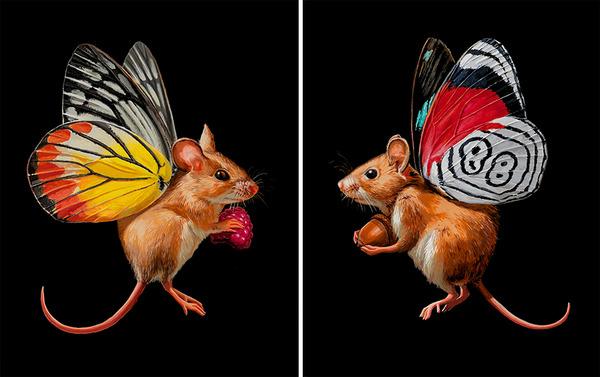蝶々の羽が生えたネズミやリス小動物を描いた絵 (11)