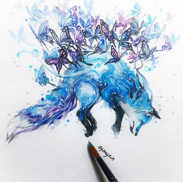 カラフルで幻想的な野生動物たちの水彩画 (7)