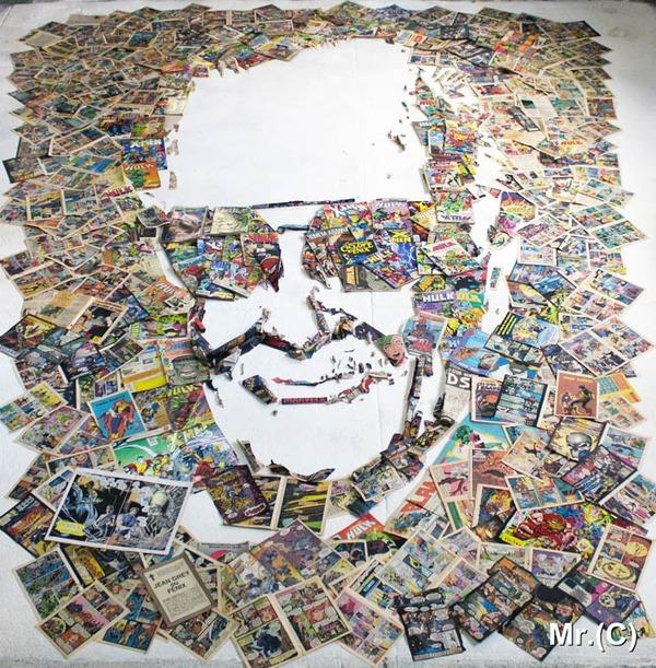 音楽機材や電子機械を積み上げて有名人の肖像画を描く! (5)