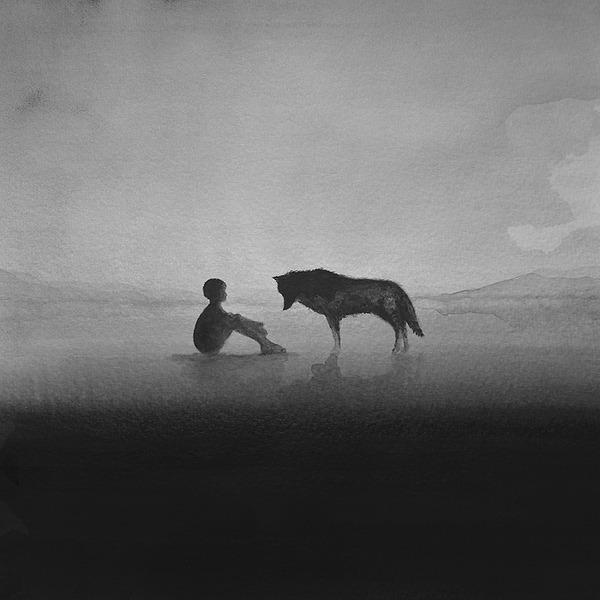 動物と少年のモノクロ絵画 Elicia Edijanto (4)
