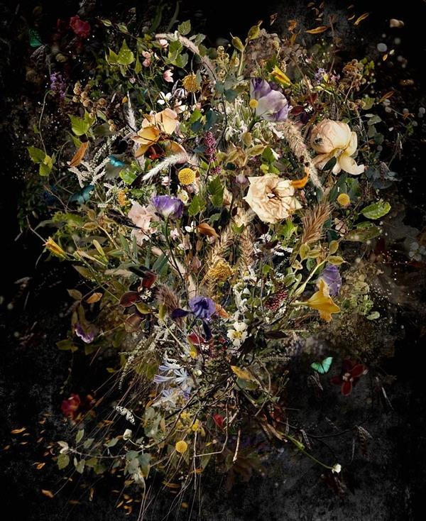 木々や花々を組み合わせて作られたコラージュ画像 (4)