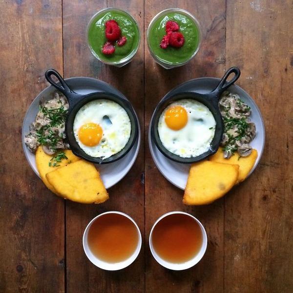 美味しさ2倍!毎日シンメトリーな朝食写真シリーズ (48)