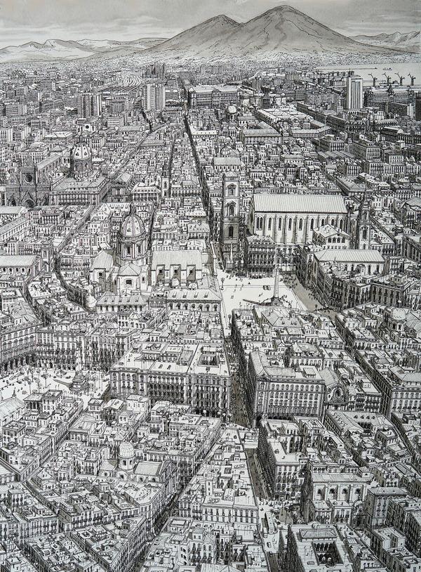 超精密!記憶を頼りに世界の都市景観を描くモノクロ絵画 (2)