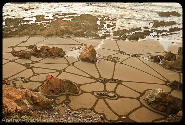 砂浜に描く絵画アート 5