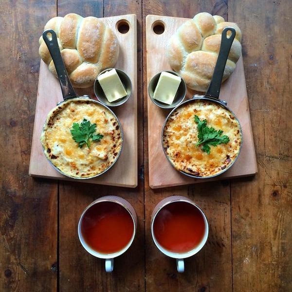 美味しさ2倍!毎日シンメトリーな朝食写真シリーズ (50)