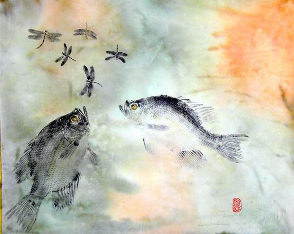 日本文化『魚拓』で描かれる海外アーティストによる絵画作品 (4)