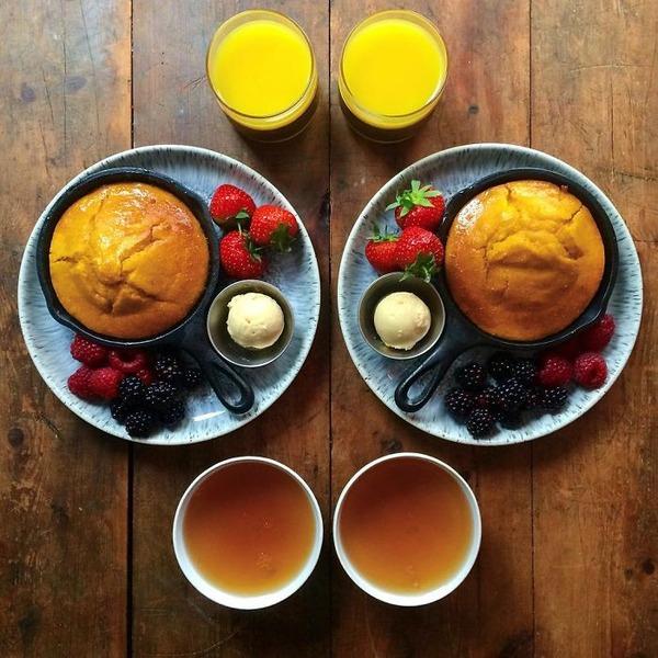 美味しさ2倍!毎日シンメトリーな朝食写真シリーズ (44)