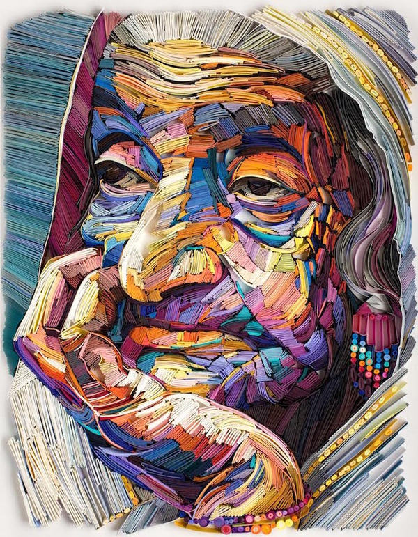 カラフルな油絵っぽいけど、紙を折り曲げて作られてる肖像画! (3)