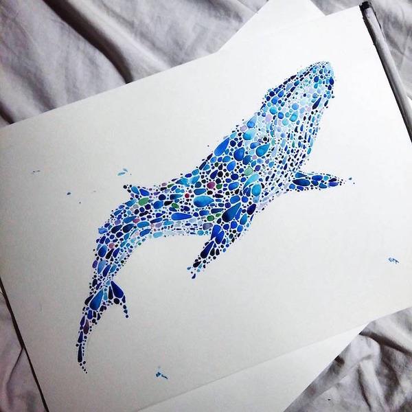 超カラフルな動物の水彩画!色とりどりの点によって描かれる (11)