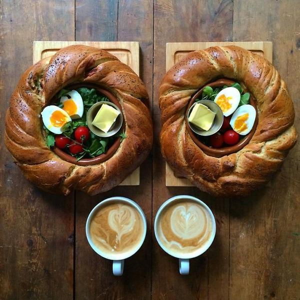 美味しさ2倍!毎日シンメトリーな朝食写真シリーズ (24)