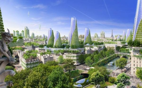 自然と共存する未来の街並み