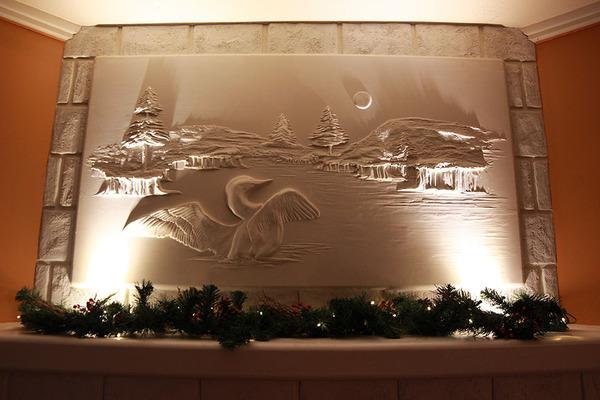 石膏職人の技!乾式壁に描く立体的な石膏彫刻 (3)