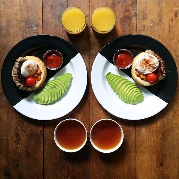 美味しさ2倍!毎日シンメトリーな朝食写真シリーズ (40)