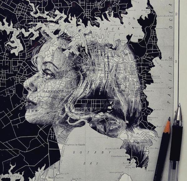 地図をキャンバスにして描く印象的な肖像画 (7)