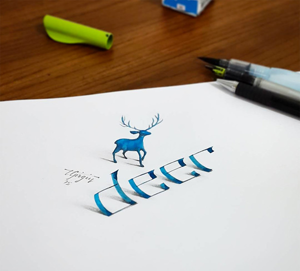 紙上の文字が立体的に!3Dカリグラフィー(Calligraphy) (2)