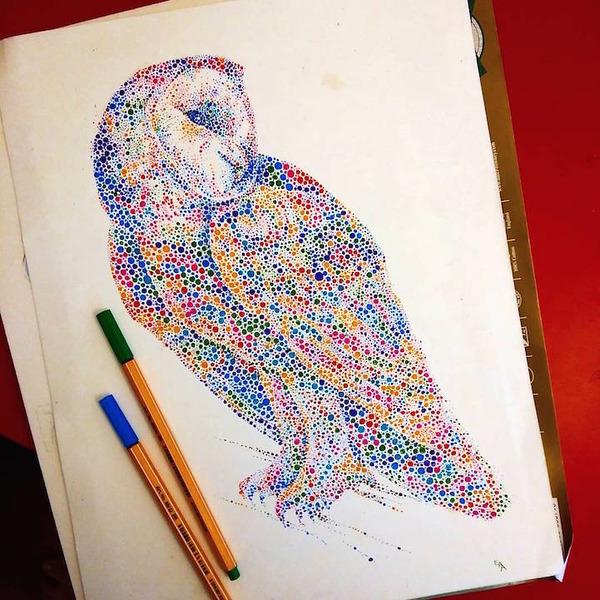超カラフルな動物の水彩画!色とりどりの点によって描かれる (10)